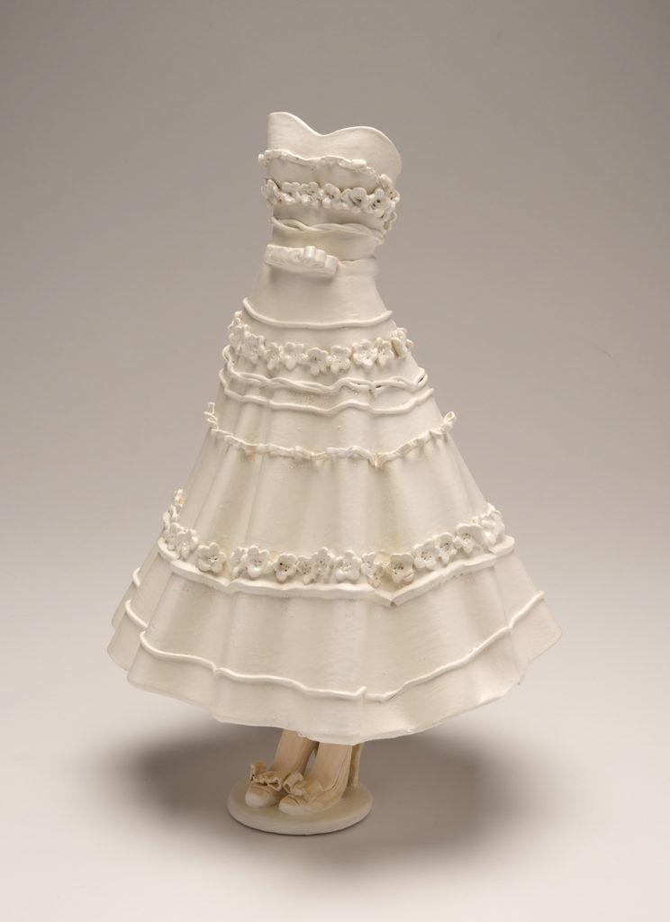 Wedding Dress Replica - tea length strapless dress