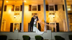 Drexelbrook Wedding Couple Mansion Front