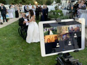 Allure Films Wedding Videographer Live Streams Philadelphia Wedding on Ipad