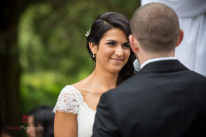 Smiling Bride Outside on Wedding Day