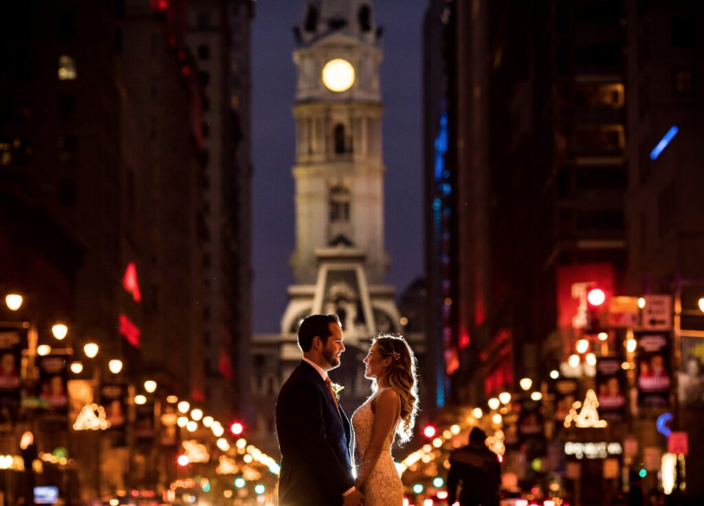 Morby Photography Philadelphia Wedding Photo Broad Street Lights