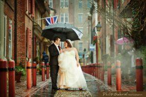 Philip Gabriel Photography Philadelphia Wedding Photographer Couple with Umbrella in Rain