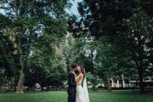 Wedding Day Couple in Washington Square Park by Ralph Deal Photography