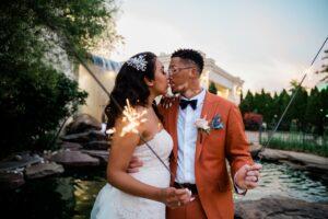 Couple Outside with Sparklers by Tonjanika Smith Philadelphia Wedding Photographer