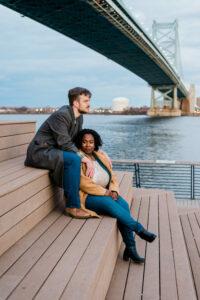 Tonjanika Smith Wedding Photographer in Philly Couple by Ben Franklin Bridge