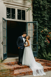 Bride and Groom Outside of Overbrook Golf Club